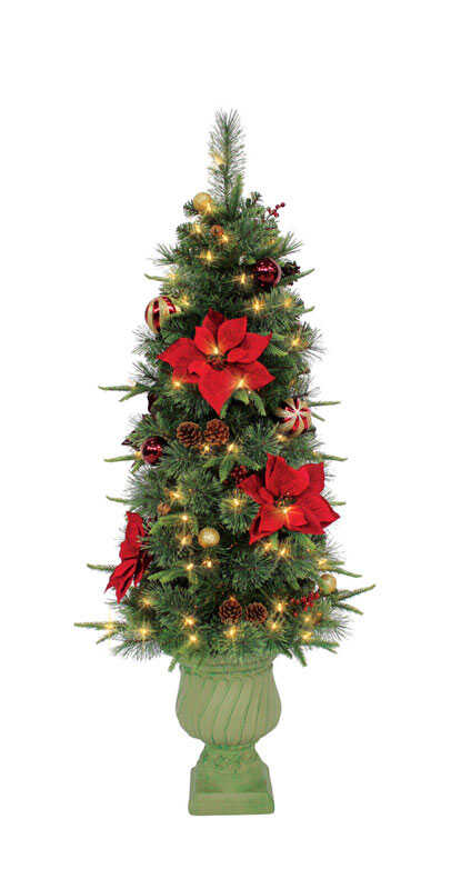 J & J Seasonal  Warm White  Prelit Royal Crimson  Artificial Entrance Tree  120 lights 383 tips 4-1/