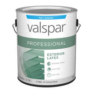 Valspar  Contractor Professional  Flat  Basic White  Paint  1 gal. Acrylic Latex