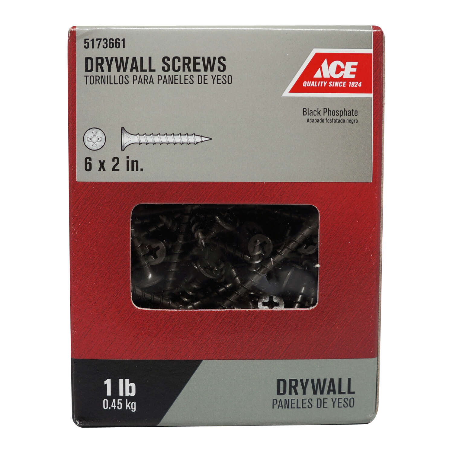 Ace  No. 6   x 2 in. L Phillips  Drywall Screws  1 lb. 189 pk