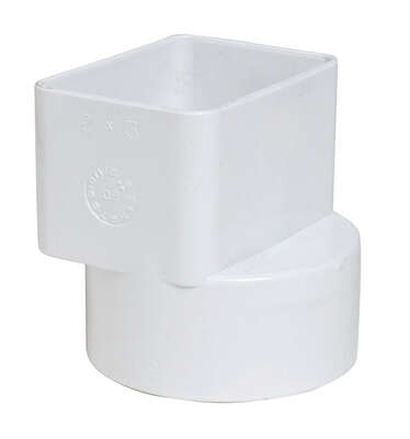 Plastic Trends  3 in. Hub   Female  PVC  Flush Downspout Adapter