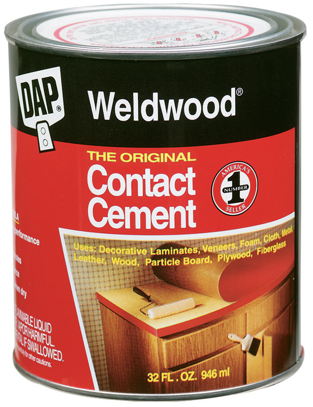 DAP Weldwood High Strength Rubber Contact Cement 1 qt. Weld woodoriginal contact cement is a premium quality, brush grade, neoprene-based contact cement that meets the stringent requirements of the professional user.