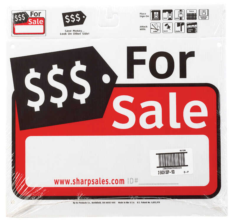 Hy-Ko  English  For Sale  Sign  Plastic  12 in. H x 13 in. W