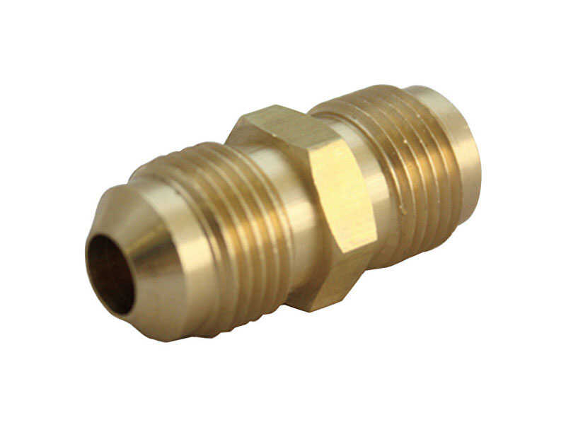 JMF  1/4 in. Dia. x 1/4 in. Dia. Flare To Flare To Union  Yellow Brass  Union