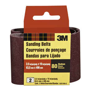 3M  16 inch in. L x 2-1/2 in. W Aluminum Oxide  Sanding Belt  80 Grit Medium  2 pc.