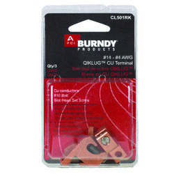 Burndy  Qiklug  Lay-In Lug  Copper  3 pk