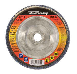 Forney  4-1/2 in. Dia. Zirconia Aluminum Oxide  Flap Disc  36 Grit Fine  13300 rpm 1 pc.