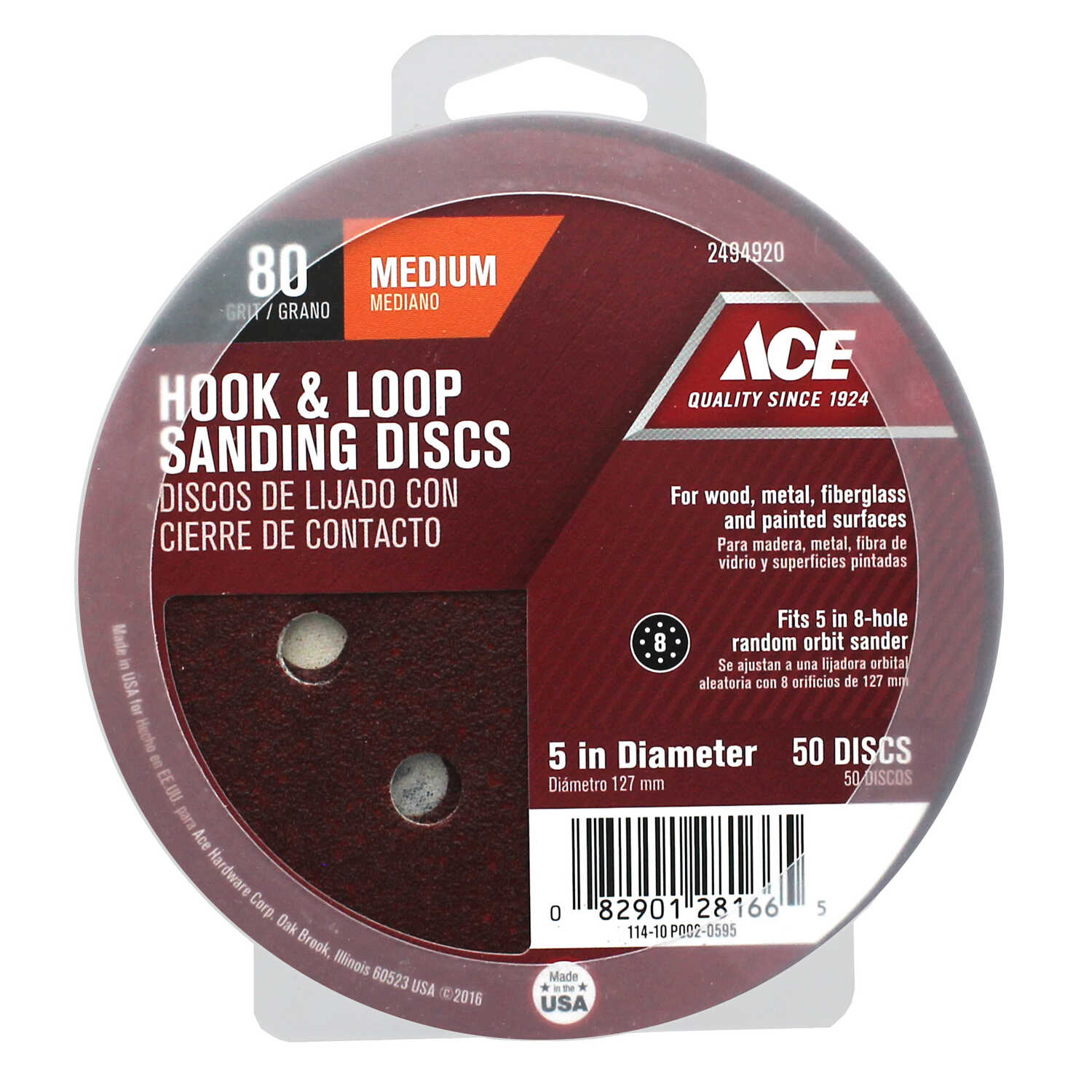 Ace  5 in. Aluminum Oxide  Hook and Loop  Sanding Disc  Medium  50 pk 80 Grit