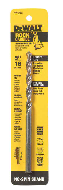 DeWalt  5/16 in. Dia. x 6 in. L Carbide Tipped  Percussion Drill Bit  3-Flat Shank  1 pc.