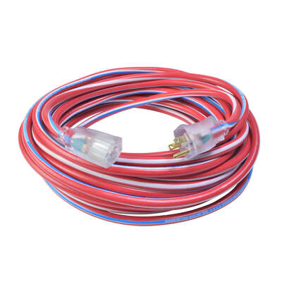 Southwire Patriotic Indoor or Outdoor 25 ft. L Blue/Red/White Extension Cord 12/3 SJTW