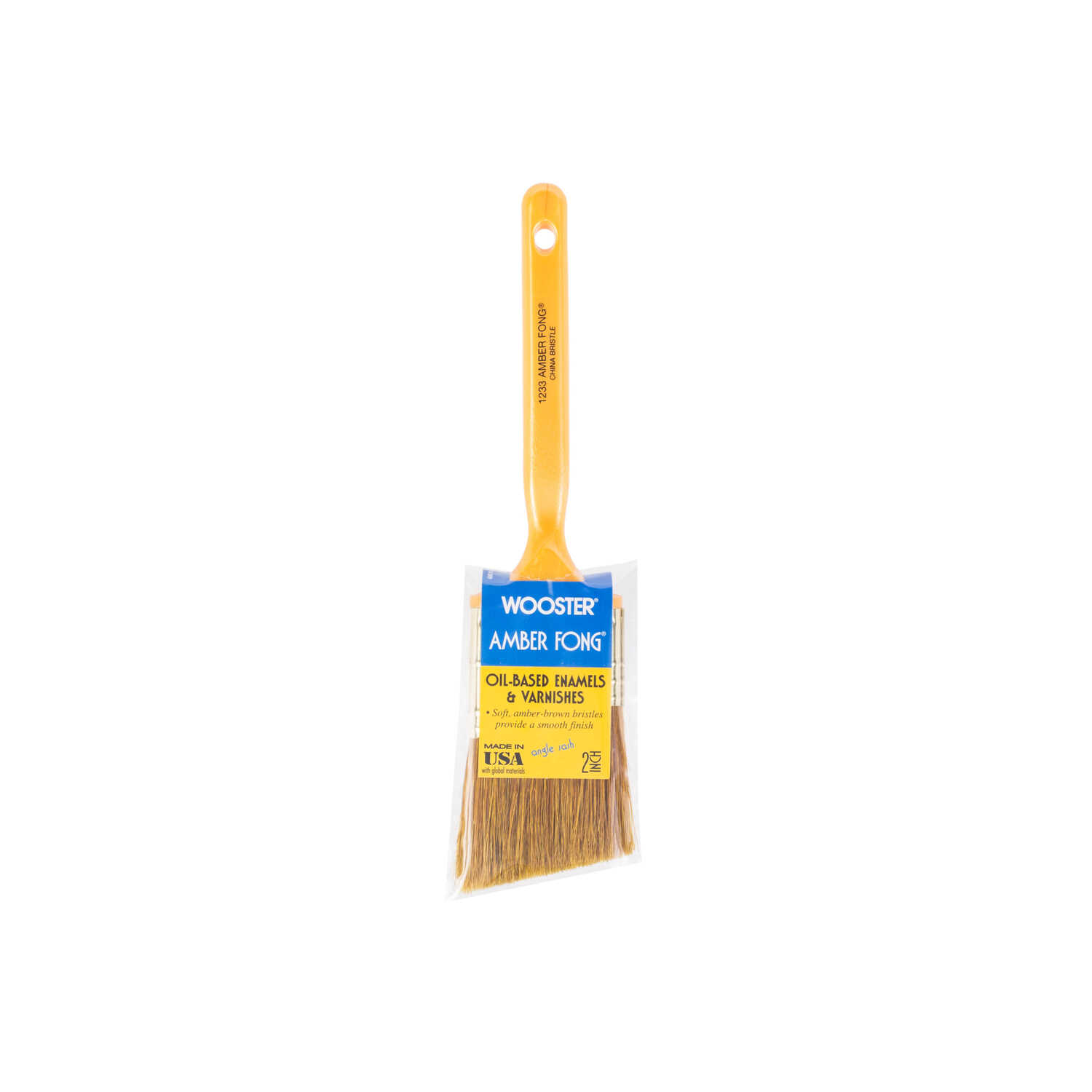 Wooster  Amber Fong  2 in. W Angle  Brown China Bristle  Paint Brush