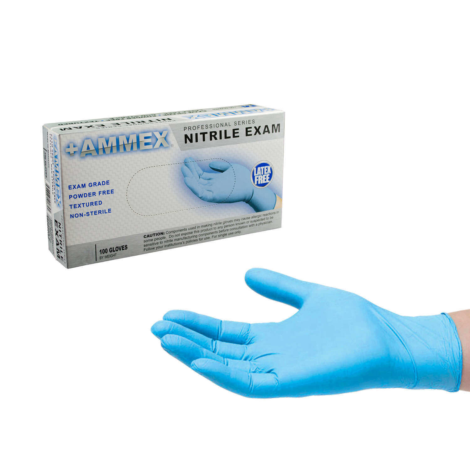 Ammex  Nitrile  Disposable Exam Gloves  Large  Blue  Powder Free  100 pk