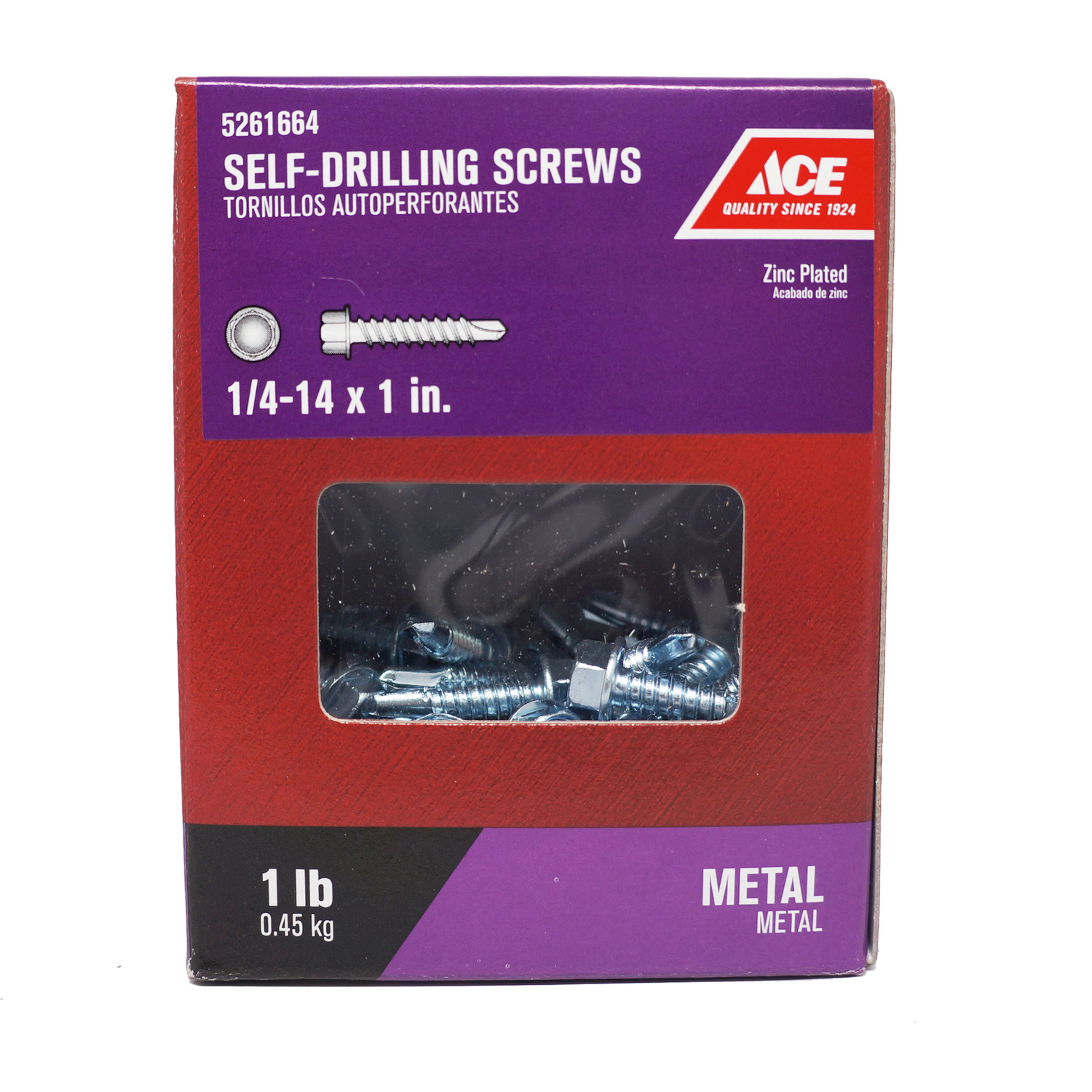 Ace  1/4-14 Sizes  x 1 in. L Hex  Hex Washer Head Self- Drilling Screws  Steel  1 lb. Zinc-Plated