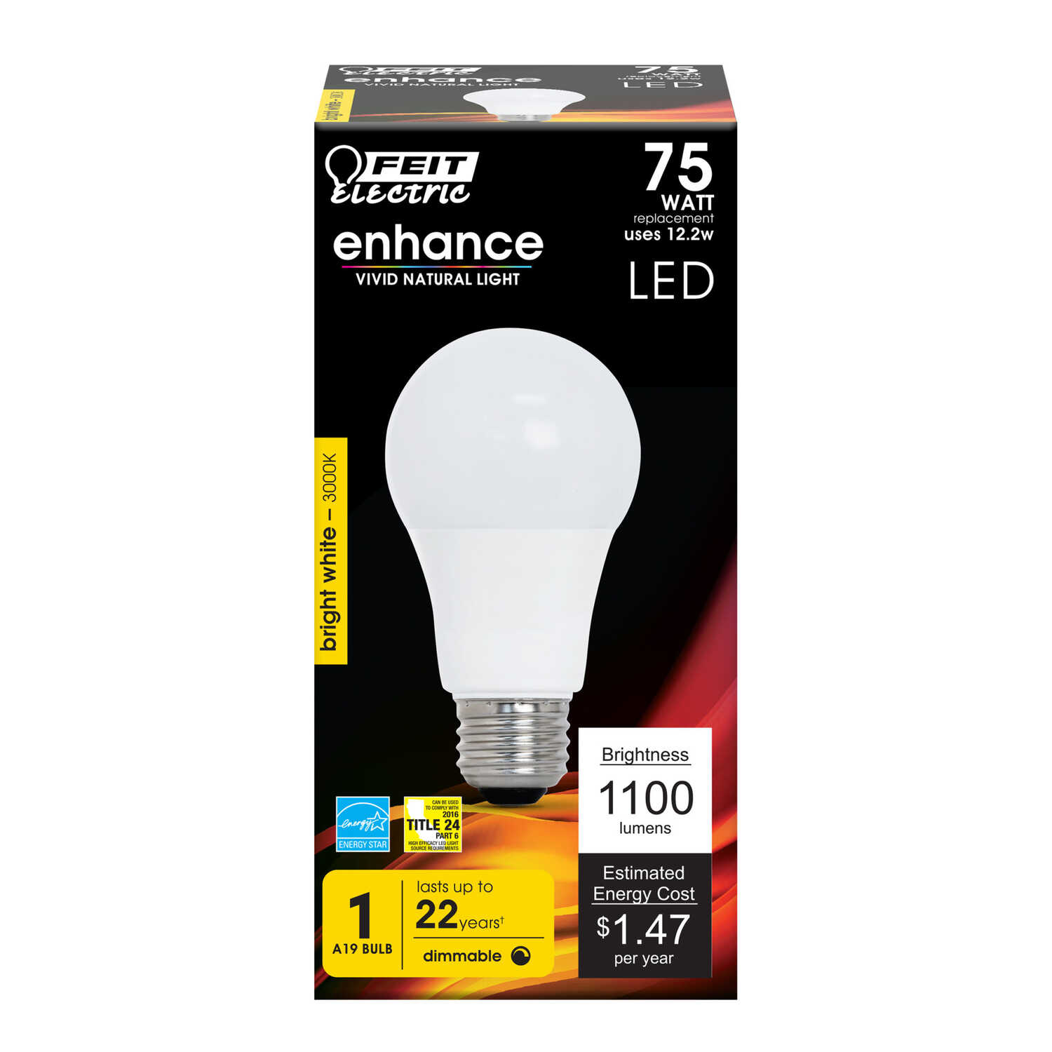 FEIT Electric  12.2 watts A19  LED Bulb  1100 lumens Soft White  A-Line  75 Watt Equivalence