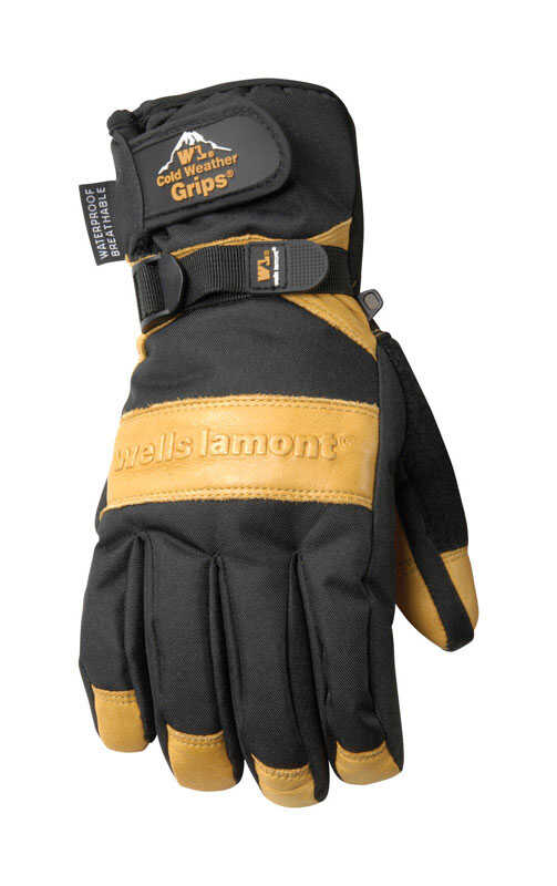 Wells Lamont  L  Cowhide Leather  Winter  Black/Tan  Gloves