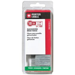 Porter Cable  1-1/4 in. 18 Ga. Straight Strip  Brad Nails  Smooth Shank  1,000 pk