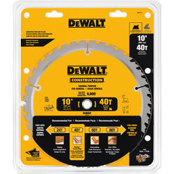 DeWalt  10 in. Dia. x 5/8 in.  Construction  Carbide Tipped  Circular Saw Blade  40 teeth 1 pk