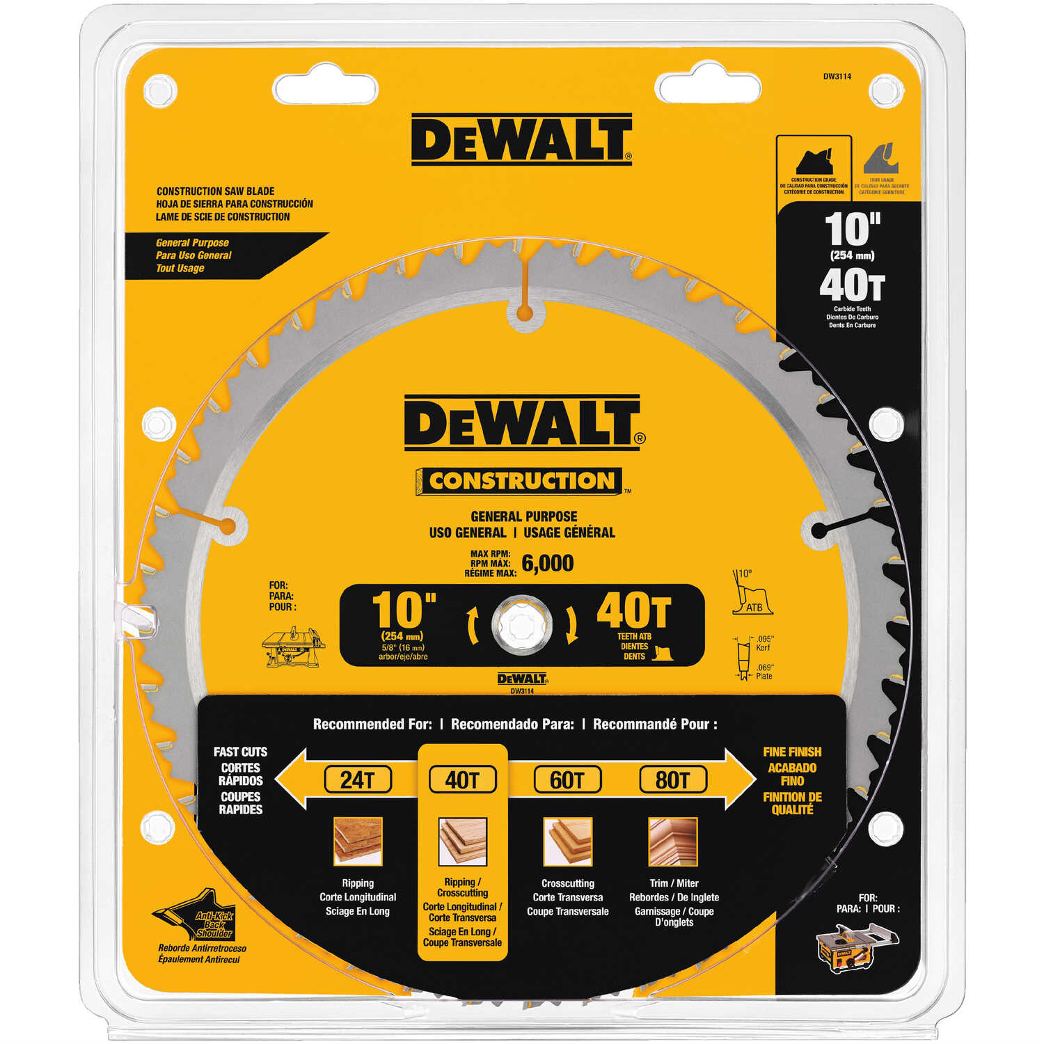 DeWalt  10 in. Dia. x 5/8 in.  Carbide Tipped  Construction  Circular Saw Blade  40 teeth 1 pk