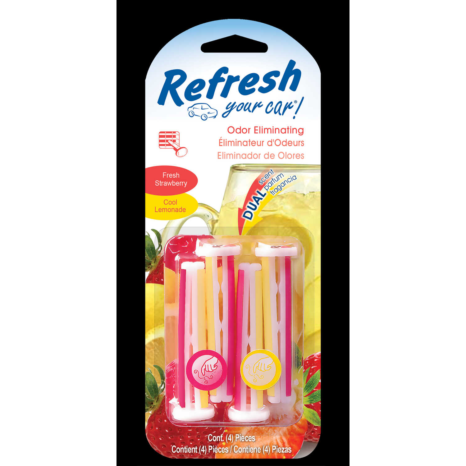 Refresh Your Car!  Fresh Strawberry And Cool Lemonade Scent Car Vent Clip  4 pk