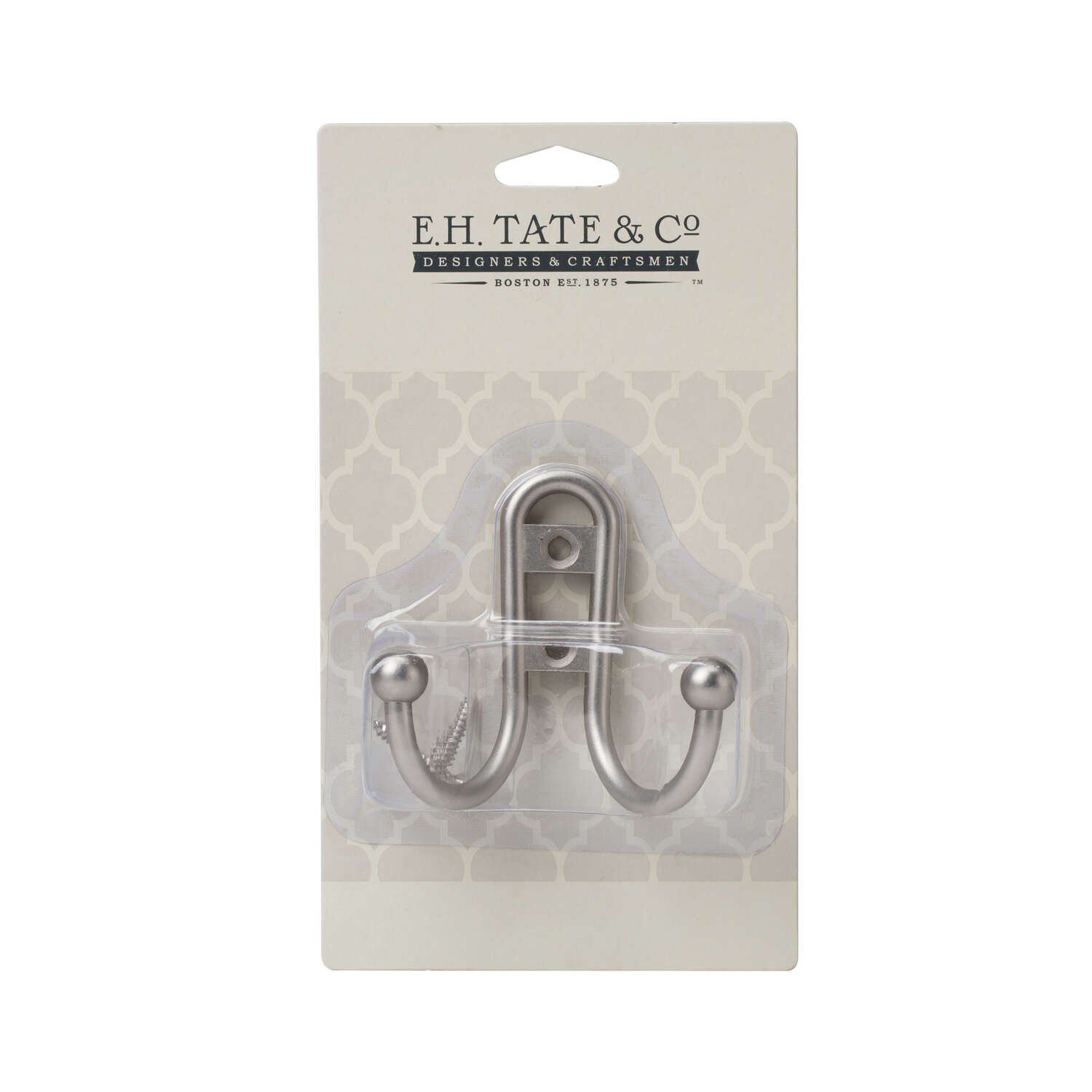 E.H. Tate & Co.  Satin Nickel  Silver  Metal  Double Hook  1 pk