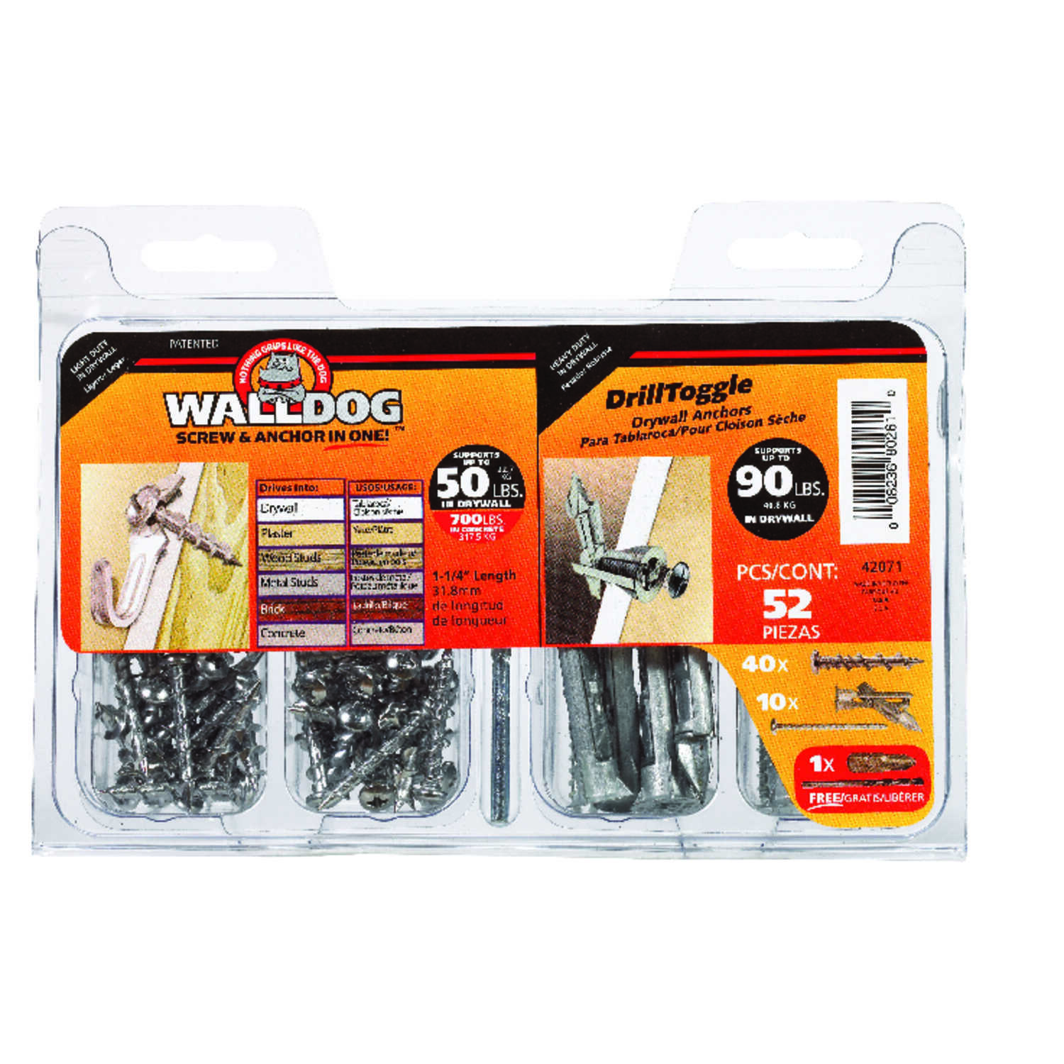 Walldog  No. 10   x 1-1/4 in. L Phillips  Pan  Chrome  Chrome  Construction Screws  52 pk