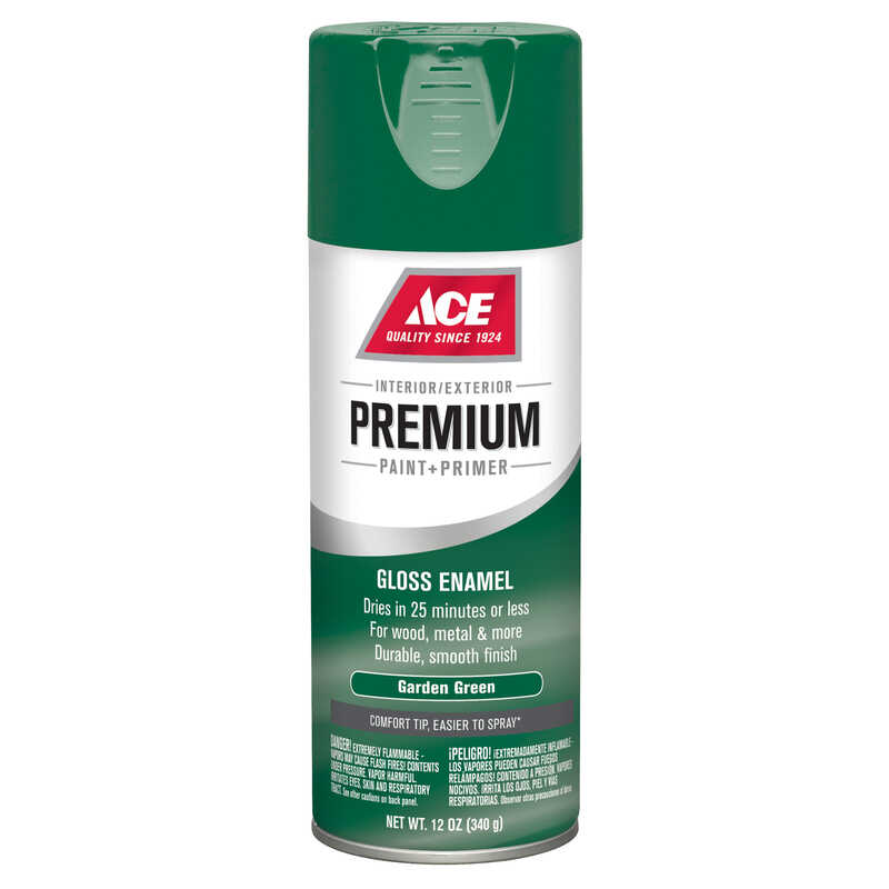 Ace  Premium  Gloss  Garden Green  Enamel Spray Paint  12 oz.