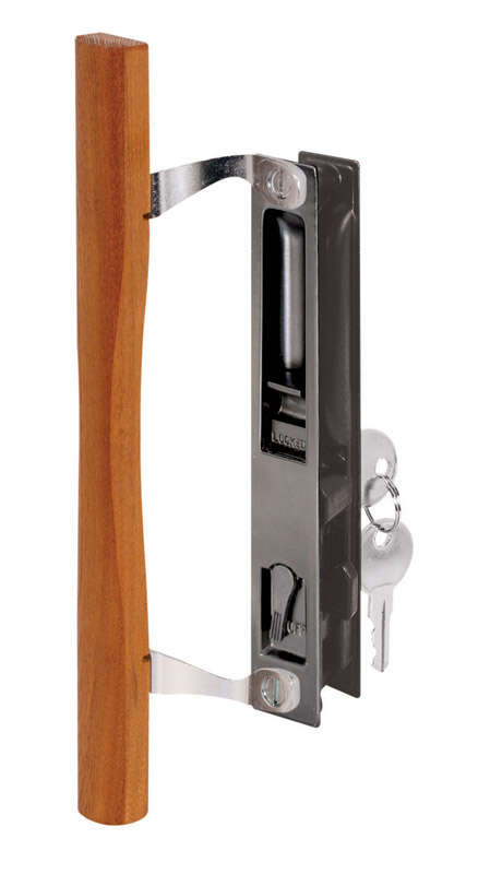 Prime-Line Wood Tone Steel Outdoor Sliding Glass Door Lock Set