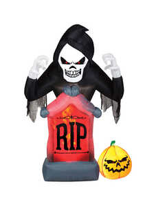 Gemmy  Grim Reeper RIP  Lighted Halloween Inflatable  60 in. H x 20-1/4 in. W x 9-7/8 in. L 1 pk
