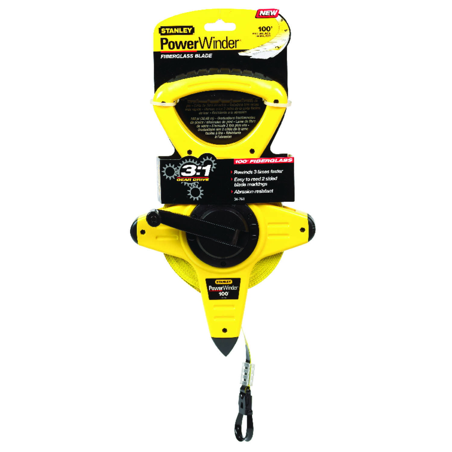 Stanley  PowerWinder  100 ft. L x 0.5 in. W Fiberglass Long Tape Measure  Yellow  1 pk