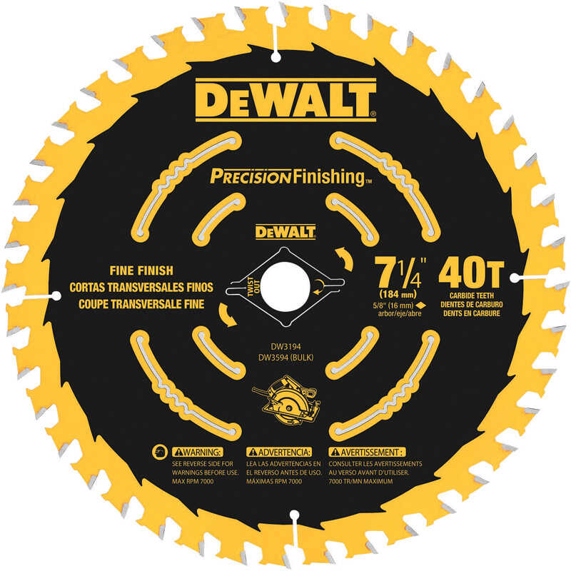 DeWalt  7-1/4 in. Dia. x 5/8 in.  Carbide Tipped  Precision Finishing  Circular Saw Blade  40 teeth