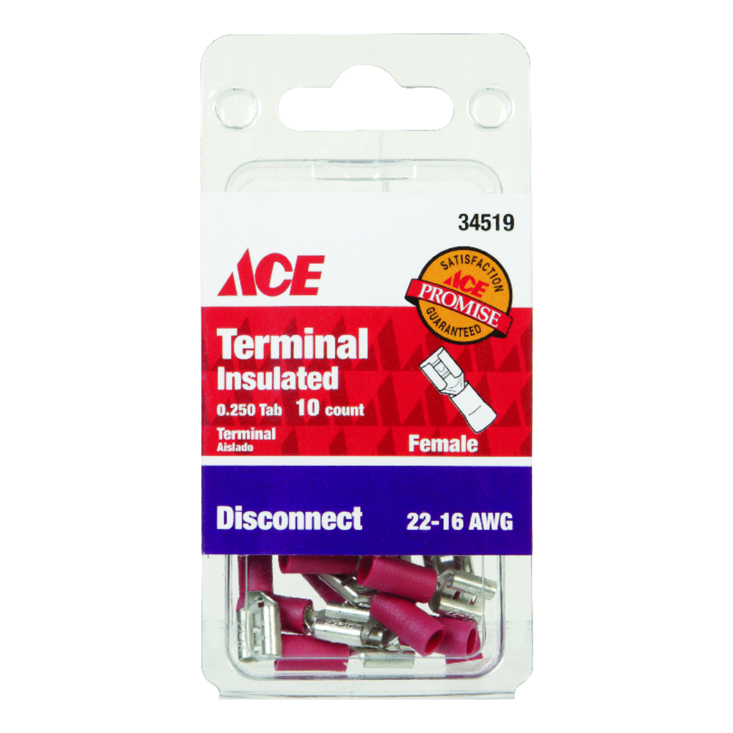 Ace  Insulated Wire  Female Disconnect  10  22-16 AWG