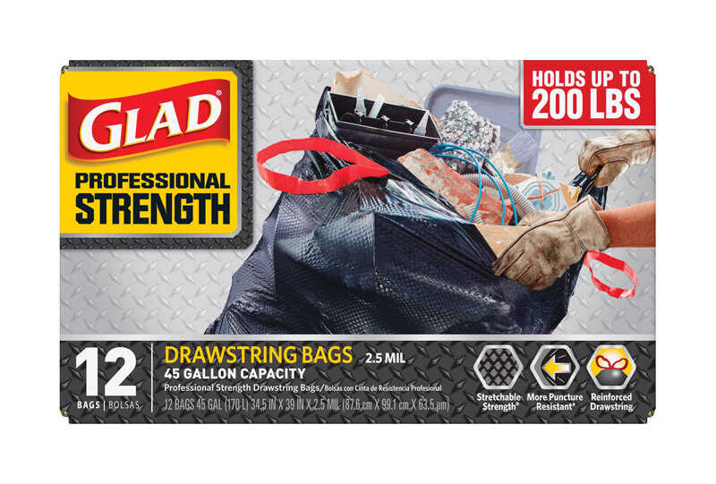 Glad  Professional Strength  45 gal. Trash Bags  Drawstring  12 pk