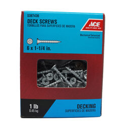 Ace No. 6 x 1-1/4 in. L Phillips Bugle Head Galvanized Deck Screws 1 lb. 288 pk