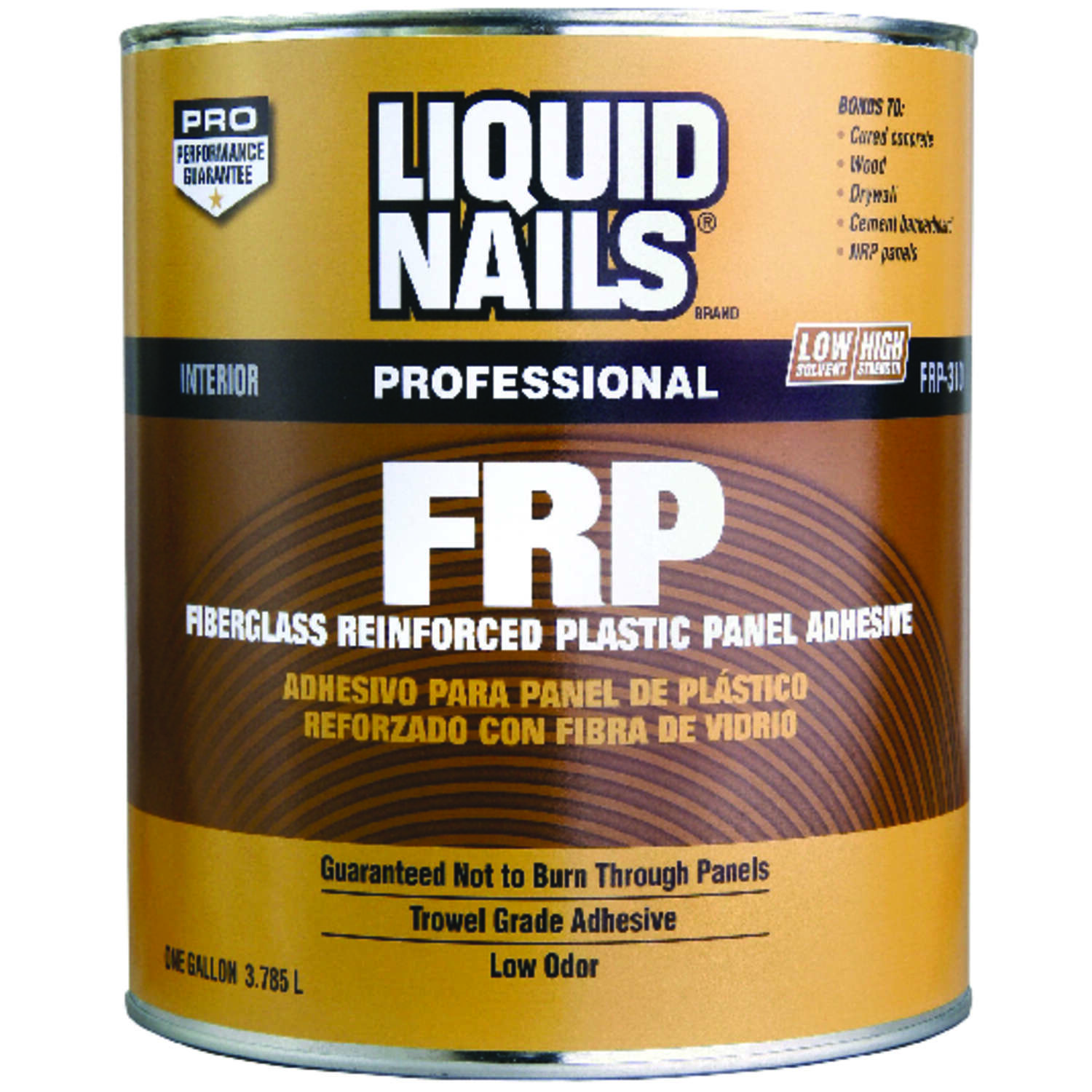 Liquid Nails  FRP Fiberglass Reinforced Plastic Panel  High Strength  Acrylic Latex  Adhesive  1 gal
