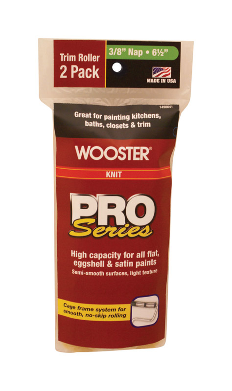 Wooster  Pro Series  Knit  3/8 in.  Paint Roller Cover  Trim  2 pk For Medium Surfaces