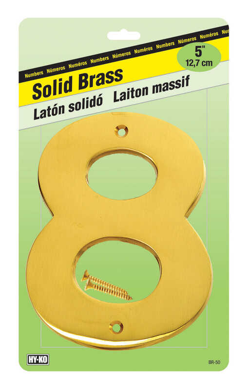 Hy-Ko  5 in. 8  Gold  Nail-On  Number  Brass