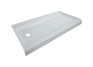 Bootz Showercast Plus White Porcelain Coated Steel Left Hand Drain