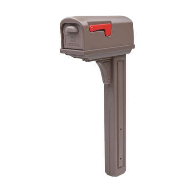Gibraltar Mailboxes  Classic  Plastic  Post and Box Combo  Mocha  Double Door Mailbox