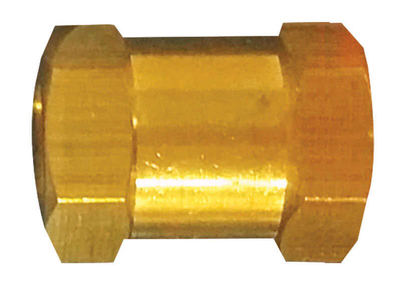 Tru-Flate  Brass/Steel  Hex Coupling  1/4 in. Female  1 pc.