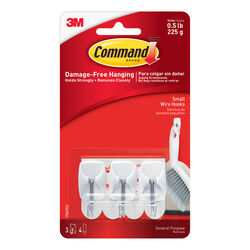 3M  Command  Small  Plastic  Wire Hooks  1-5/8 in. L 3 pk