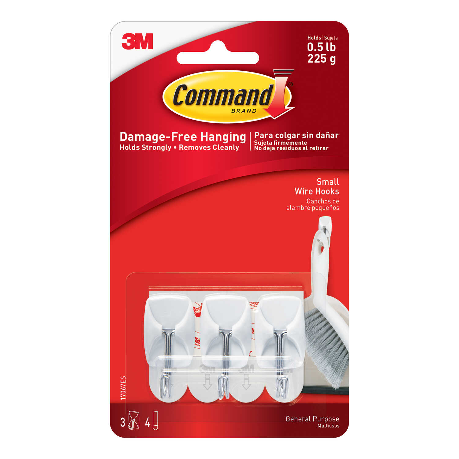 3M  Command  Small  Plastic  Hook  1-5/8 in. L 3 pk
