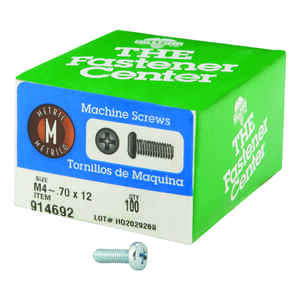 Hillman  M4-0.7 mm  x 12 in. L Phillips  Pan Head Zinc-Plated  Steel  Metric Machine Screws  100 pk