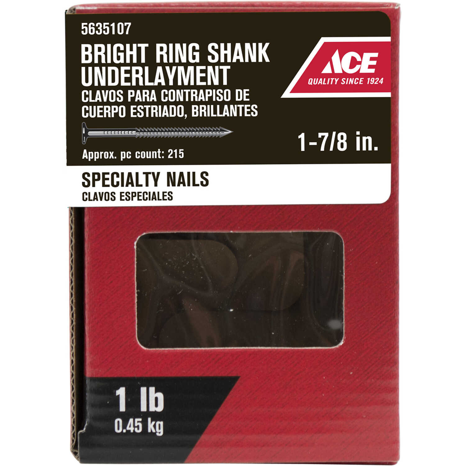Ace  1-7/8  L Underlayment  Underlayment Nail  Annular Ring Shank  215  1 lb.