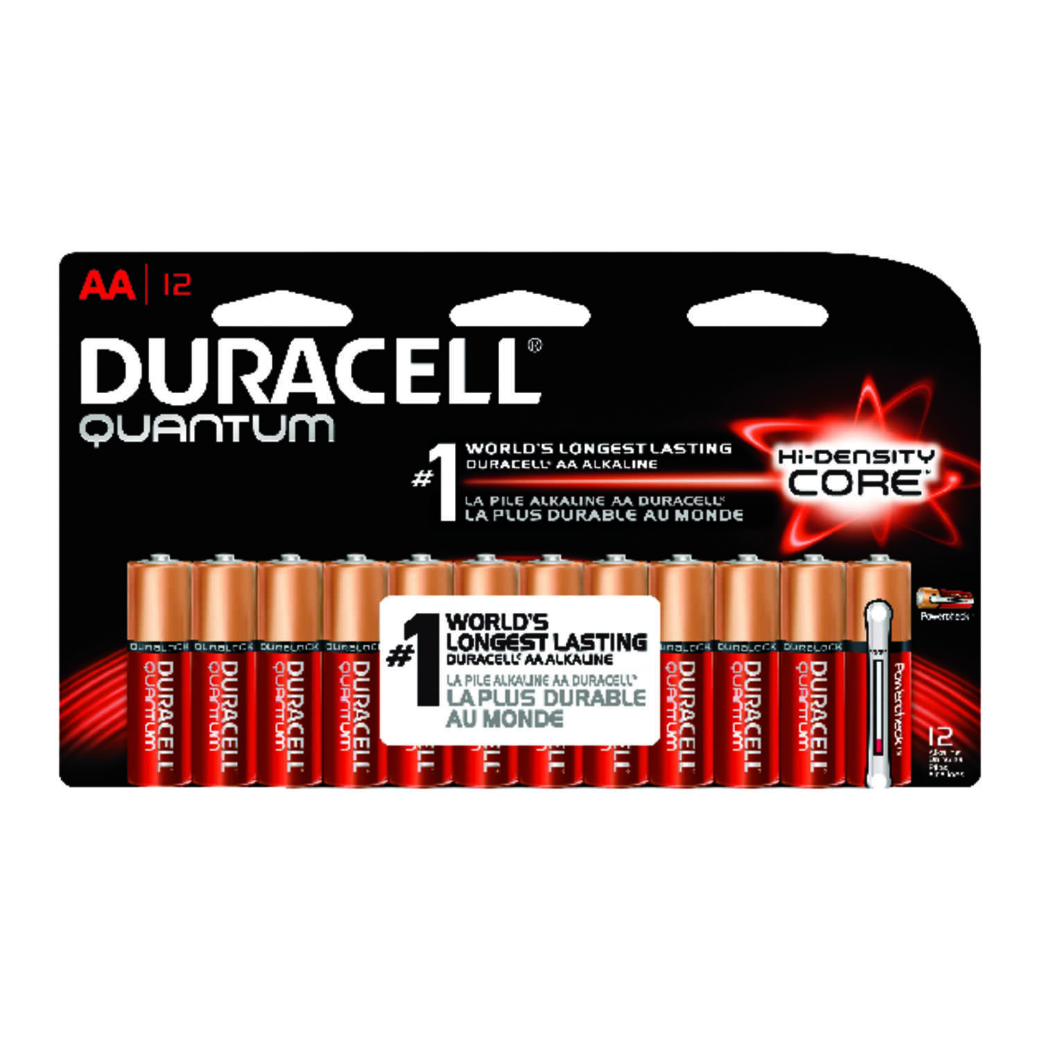 Duracell  Quantum  AA  Alkaline  Batteries  1.5 volts Carded  12 pk
