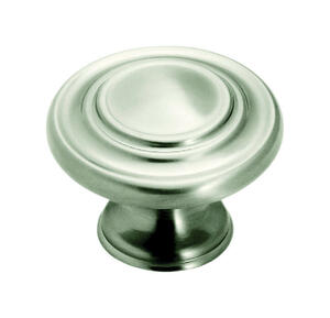 Amerock  Inspirations  Round  Cabinet Knob  1-5/16 in. Dia. 1 in. Satin Nickel  1 pk