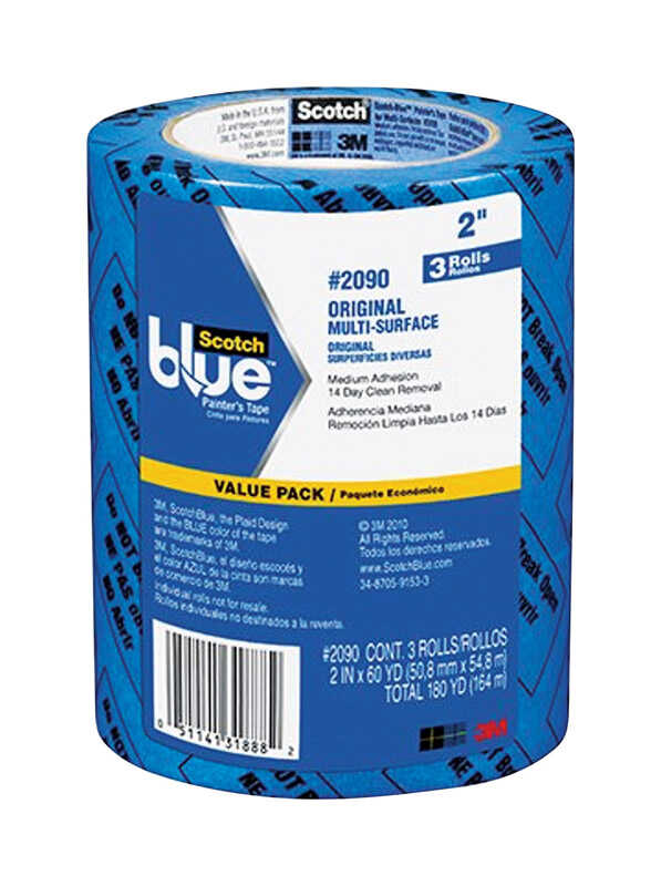 3M  Scotch Blue  60 yd. L x 2 in. W Blue  3 pk Painter's Tape  Medium Strength
