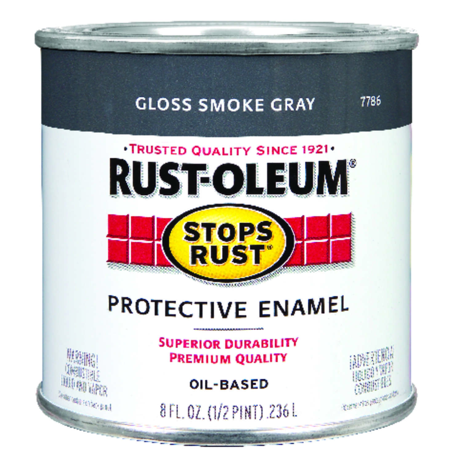 Rust-Oleum  Stops Rust  Indoor and Outdoor  Gloss  Smoke Gray  Oil-Based  Protective Paint  0.5 pt.
