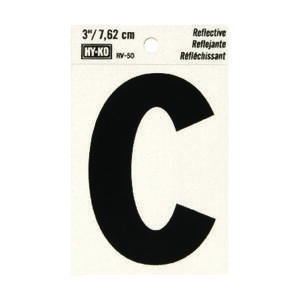 Hy-Ko  3 in. Reflective Black  Vinyl  Letter  C  Self-Adhesive  1 pc.