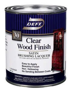 Deft  Clear Wood Finish  Satin  Clear  Lacquer  Brushing Lacquer  1 qt. Oil-Based