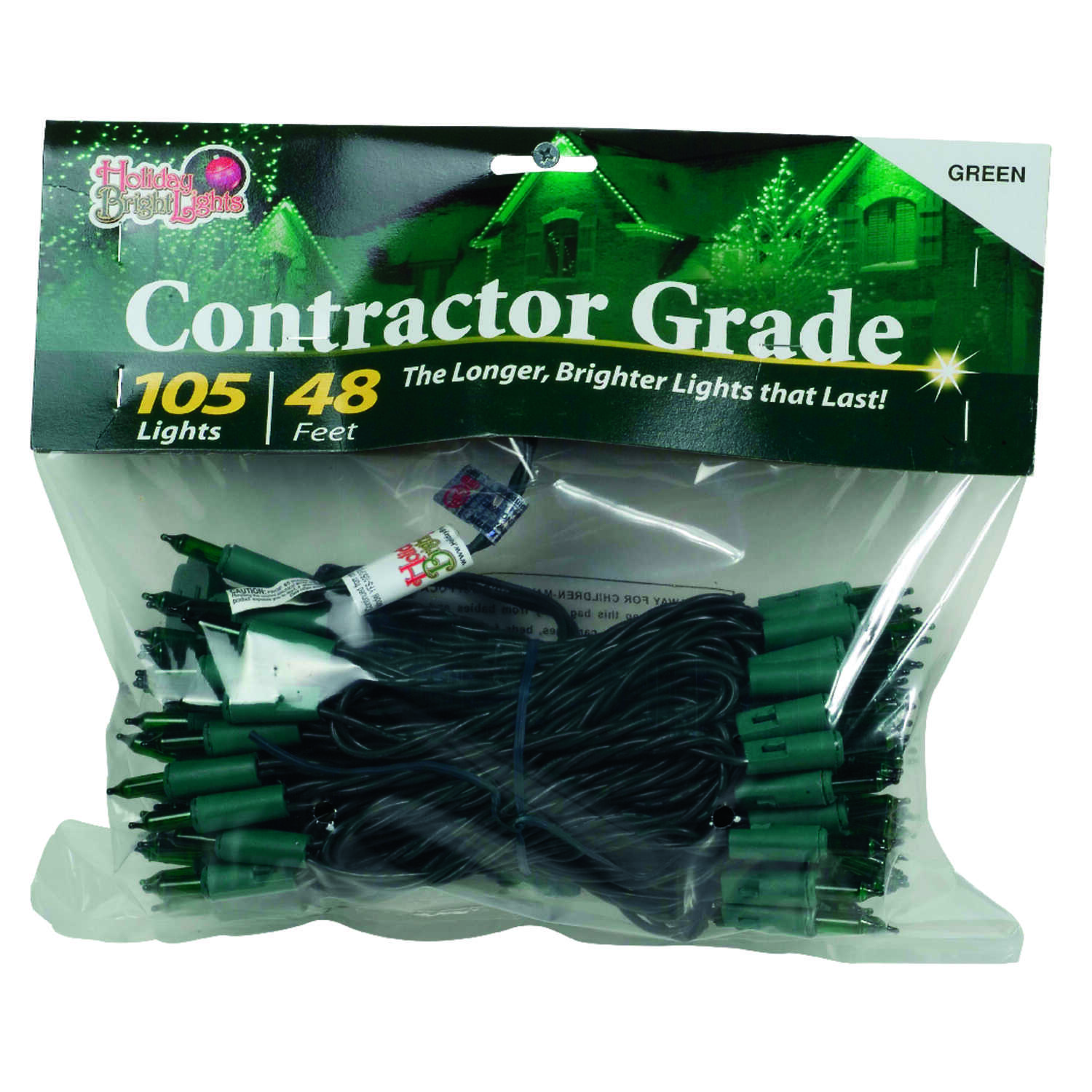 Holiday Bright Lights  Incandescent  Contractor  Light Set  Green  48 ft. 105 lights