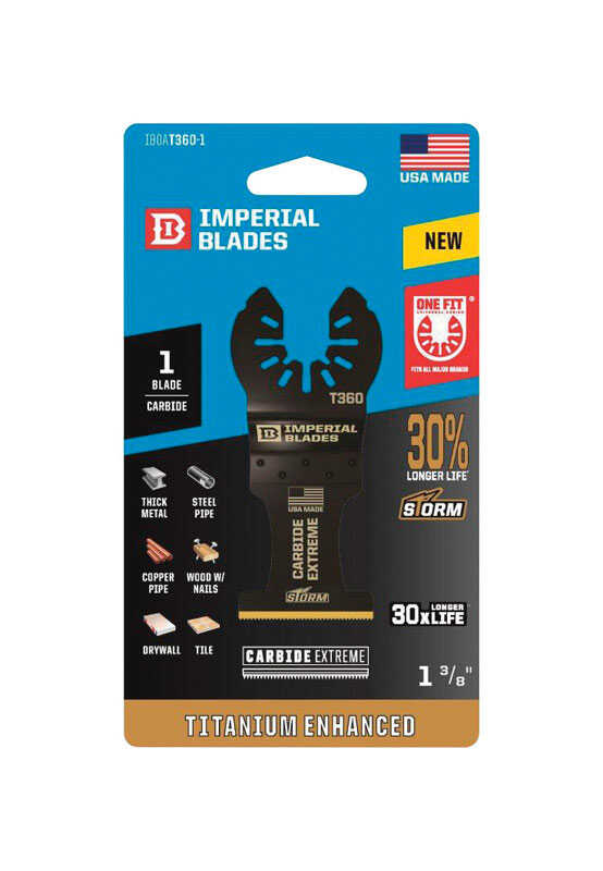 Imperial Blades  OneFit  1-3/8 in. Dia. Titanium-Coated Bi-Metal  Carbide Tooth  Oscillating Saw Bla